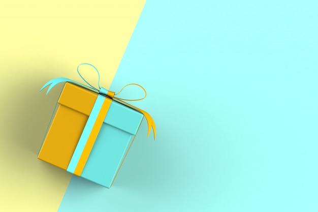Natale e capodanno, confezione regalo isolato su sfondo blu e giallo
