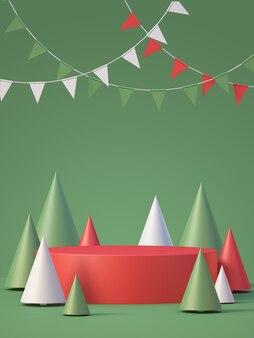 Il modello del podio del prodotto di natale e capodanno visualizza lo sfondo con l'albero di natale, sfondo rendering 3d