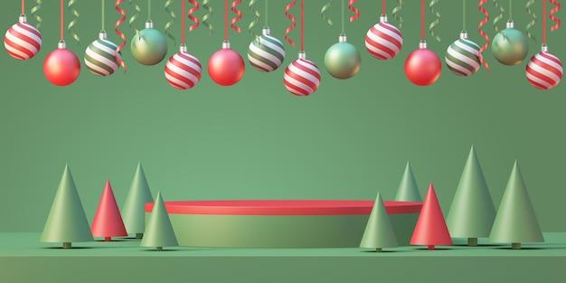 Il modello del podio del prodotto di natale e capodanno mostra lo sfondo con l'albero di natale e la palla di natale con il nastro, sfondo rendering 3d