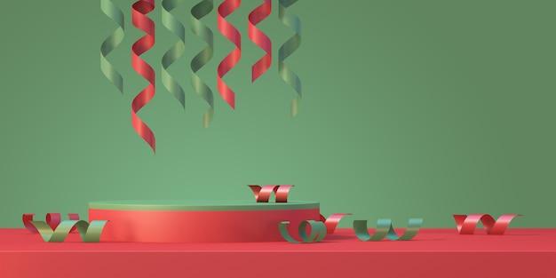 Il modello del podio del prodotto di natale e capodanno mostra lo sfondo con l'albero di natale e il nastro, sfondo di rendering 3d