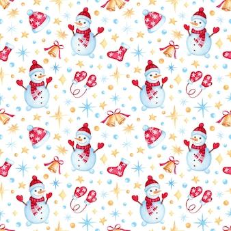 Modello di natale con pupazzo di neve del fumetto dell'acquerello. illustrazione per bambini per carta da imballaggio, tessuti, decorazioni.
