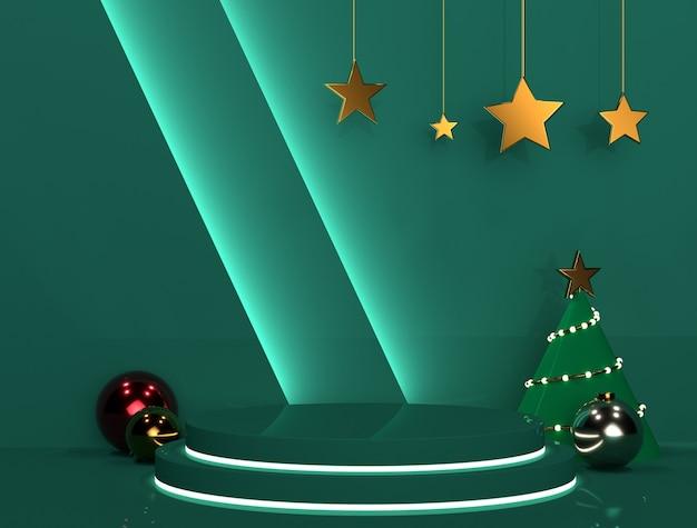 Podio natalizio verde per striscioni o promo