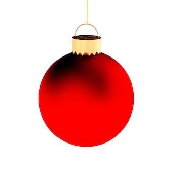 Palla rossa di natale isolata su bianco