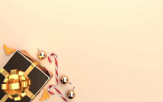 Scena di natale con doni e sfere di vetro lucido nei toni dell'oro