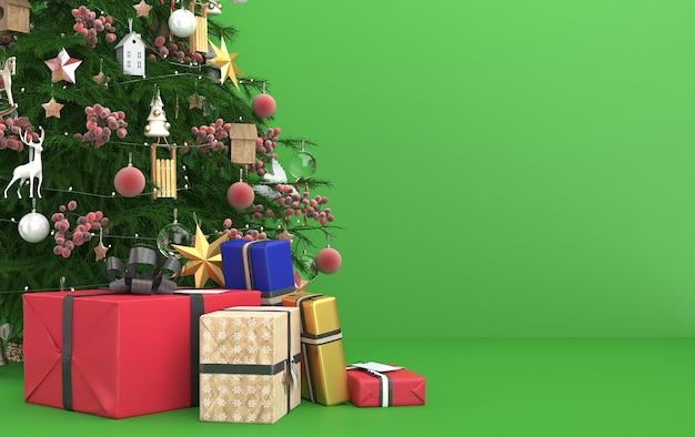 Scena di natale con regali albero e palline di vetro lucido e giocattoli