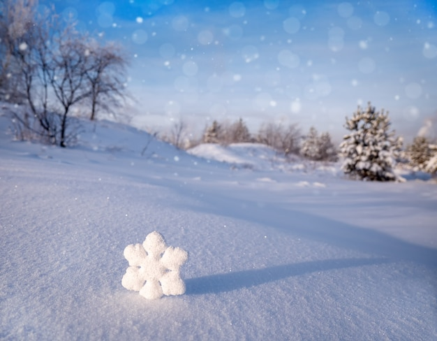 Fiocchi di neve di natale sulla neve bianca in una gelida giornata invernale di sole