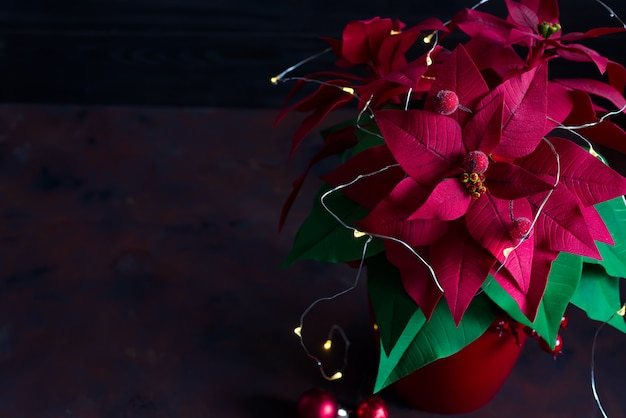 Natale natura morta con stella di natale, gaultheria e decorazioni su tavola di legno
