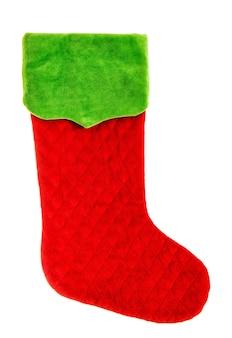 Calza di natale. calzino rosso verde isolato su sfondo bianco. simbolo delle vacanze invernali