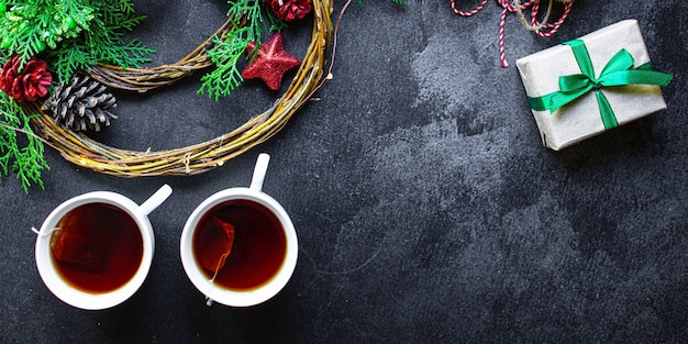 Natale tea party sfondo regalo festivo