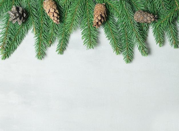 Ramo di albero di natale, pigne, rami di abete su sfondo grigio. lay piatto