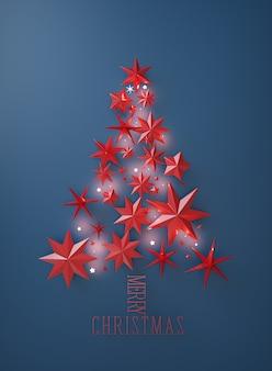 Concetto di albero di natale formato da stelle rosse su sfondo blu