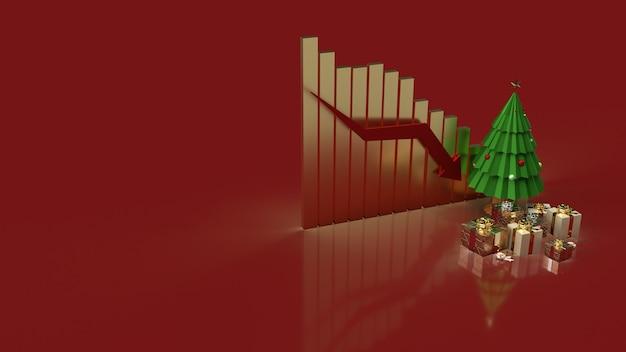 Le confezioni regalo dell'albero di natale e la freccia del grafico verso il basso per i contenuti di marketing per le vacanze
