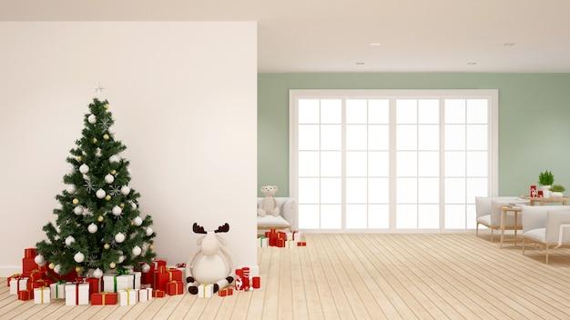 Albero di natale e regalo in salotto