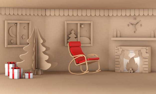 Albero di natale nel soggiorno di casa con camino rendering 3d