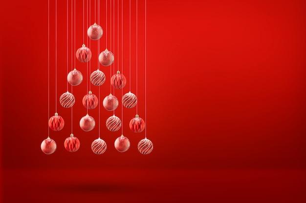 Albero di natale fatto di palle di natale, sfondo rosso biglietto di auguri minimalista