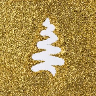 Albero di natale fatto di glitter oro
