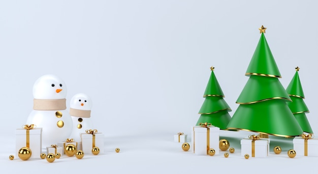 Decorazione di concetto di scena dell'albero di natale e pupazzo di neve con spazio vuoto per testo. rendering