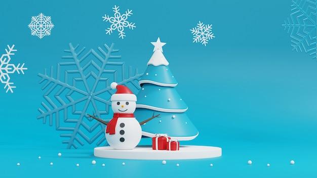 Albero di natale, pupazzo di neve e confezione regalo sull'azzurro