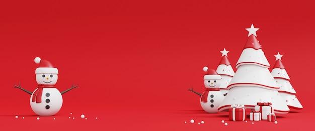 Albero di natale, pupazzo di neve e confezione regalo su colore rosso