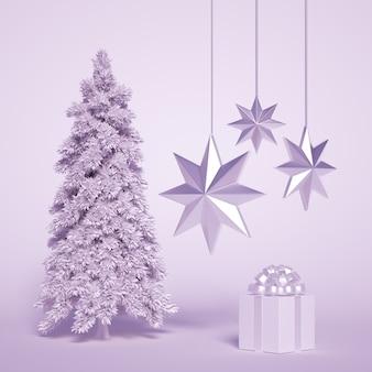 Albero di natale con regalo e stelle
