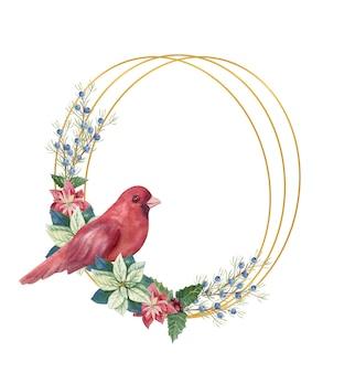 Illustrazione di inverno di natale. cornice ovale con fiori di poinsettia acquerello, ramoscelli di abete, uccello rosso, coni, bacche blu e rosse. illustrazione ad acquerello