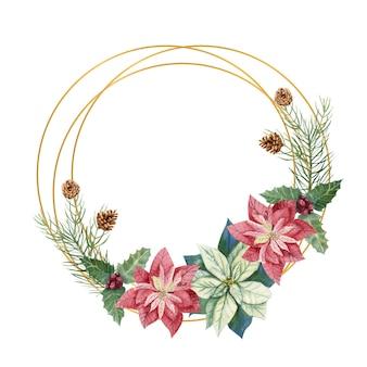 Illustrazione di inverno di natale. cornice rotonda con fiori di poinsettia acquerello, ramoscelli di abete, coni, bacche blu e rosse
