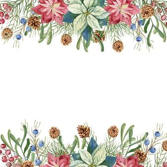 Illustrazione di inverno di natale. cornice quadrata con fiori di poinsettia acquerello, ramoscelli di abete, coni, bacche blu e rosse. illustrazione ad acquerello