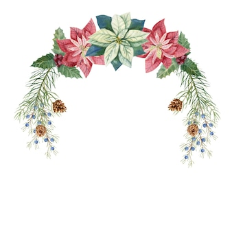 Illustrazione di inverno di natale. una corona con fiori di poinsettia dell'acquerello, ramoscelli di abete, coni, bacche blu e rosse. illustrazione ad acquerello
