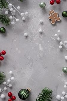 Natale, inverno, concetto di capodanno. appartamento laico, vista dall'alto, copia dello spazio