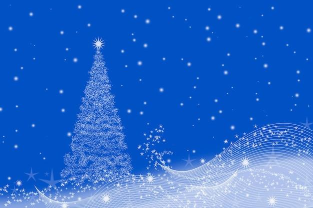 Natale con albero di natale e su un blu.