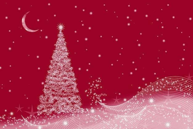 Natale con albero di natale e mezzaluna su un rosso.