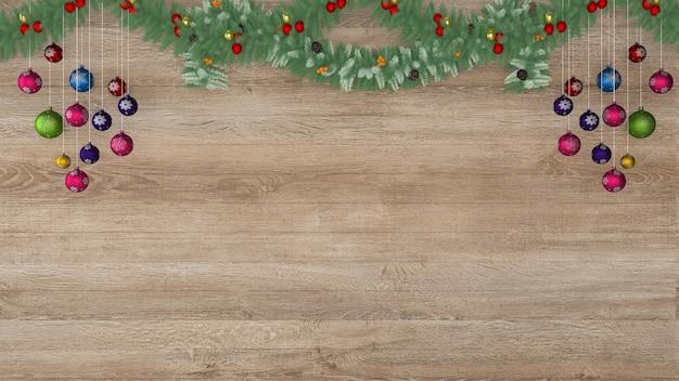 Interno di decorazione 3d di sfondo modello di albero di pavimento di parete di legno di natale