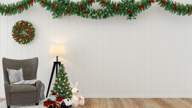 Decorazione 3d della priorità bassa del modello dell'albero del pavimento della parete di legno di natale