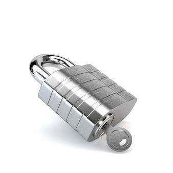 Chrome lucchetto con la chiave nel buco della serratura isolato su sfondo bianco. illustrazione 3d