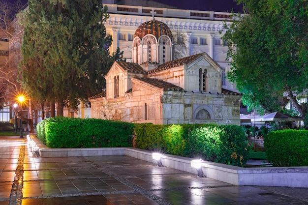 Chiesa di san eleutherios o piccola metropoli di notte, atene, grecia
