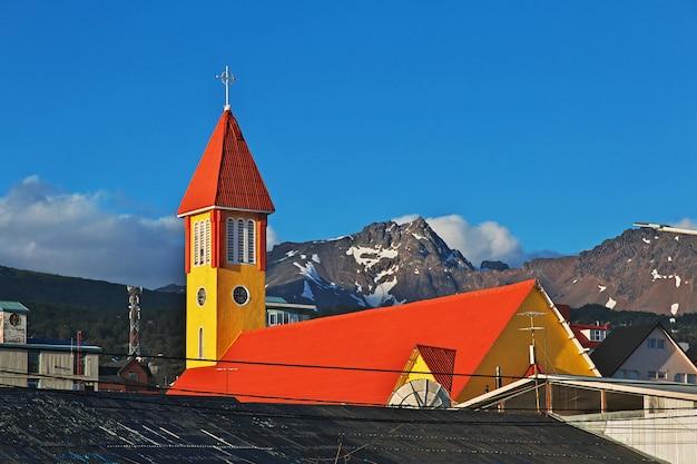 La chiesa nella città di ushuaia sulla terra del fuoco, argentina
