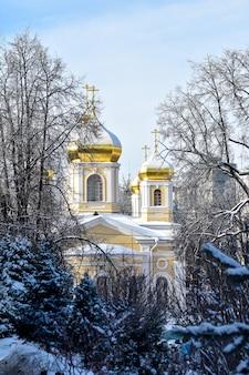 Chiesa con cupole dorate nella neve