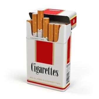 Pacchetto di sigarette su sfondo bianco isolato. 3d