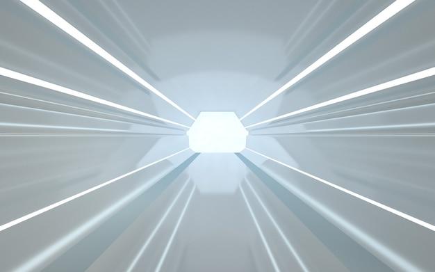 Rendering di sfondo cinema 4d di un tunnel esagonale con luci bianche per un modello di visualizzazione