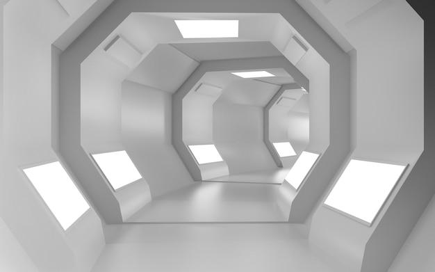 Rendering di sfondo cinematografico 4d di un tunnel ottagonale con luci bianche per un display mockup