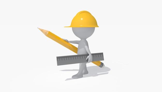 Cinema 4d rendering di un'illustrazione del lavoratore del progetto di costruzione building