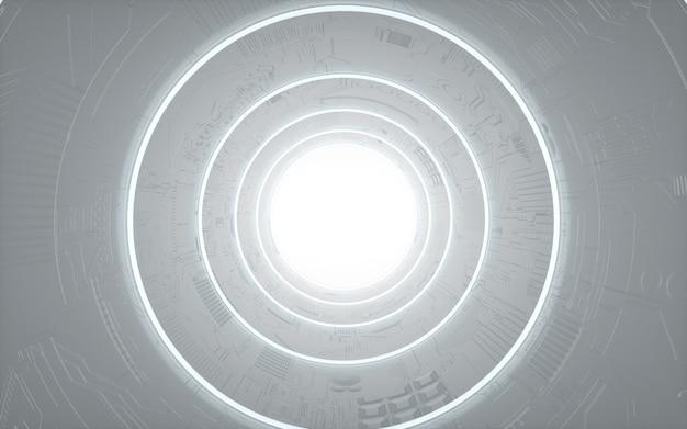 Rendering cinematografico 4d di sfondo circolare con luci bianche per mockup di visualizzazione
