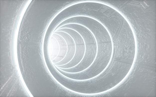 Rendering cinematografico 4d dello sfondo del tunnel circolare con luci bianche per il mockup del display