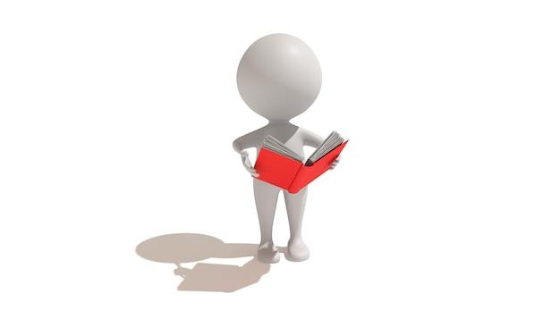 Cinema 4d rendering di un'illustrazione di una persona che legge un libro