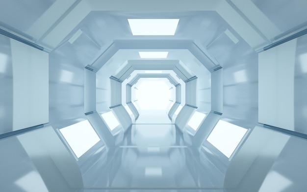 Rendering cinematografico 4d di uno sfondo a tunnel ottagonale con luci bianche per un display mockup