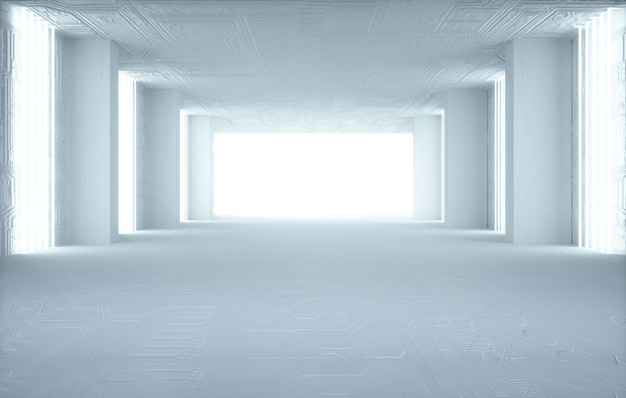 Rendering cinematografico 4d dello sfondo della stanza quadrata con illuminazione bianca per il mockup del display