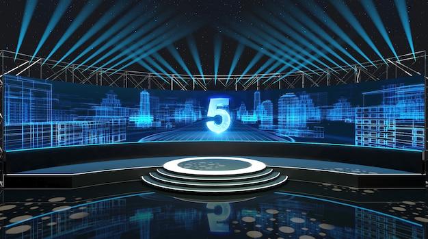 Rendering cinematografico 4d di un concetto di fase con faretti e podio circolare