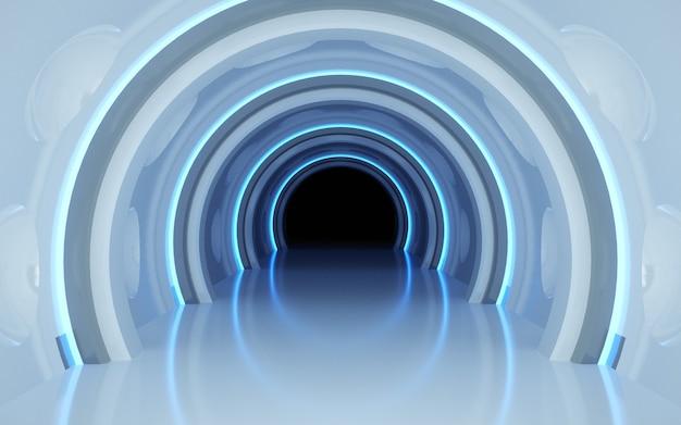 Rendering cinematografici 4d dello sfondo del tunnel con luce blu al neon per il mockup del display