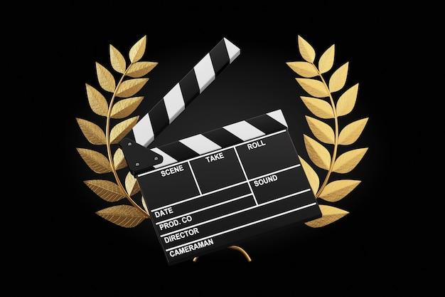 Concetto di premio cinematografico. film slate clapper board con gold laurel wreath winner award su sfondo nero. rendering 3d
