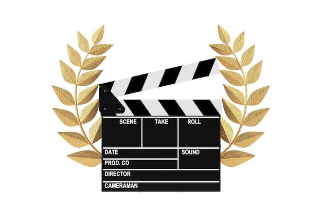 Concetto di premio cinematografico. bordo di valvola dell'ardesia di film con il premio del vincitore della corona di alloro dell'oro su un fondo bianco. rendering 3d